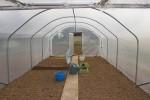 Serre tunnel, vue de l'intérieur, une grande habitabilité grâce au pied droit
