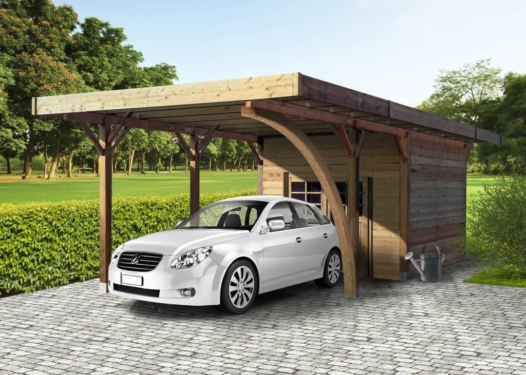 Abris à véhicules en bois avec rangement