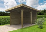 Carport en bois semi-ouvert