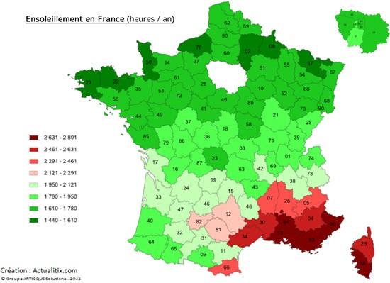 Carte de l'ensoleillement en France