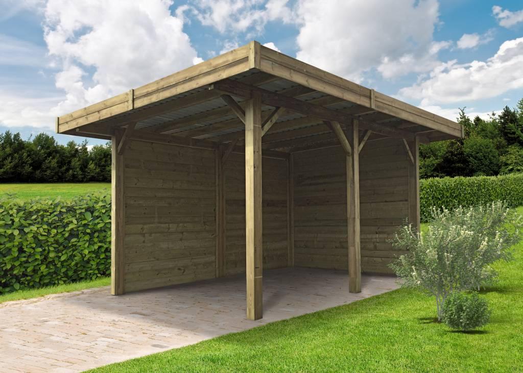 Gamme d 39 abris v hicules et carports en acier ou en bois for Abri jardin ouvert bois