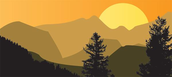Paysage de montagne et soleil